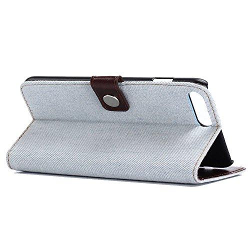 KM-WEN® Schutzhülle für Apple iPhone 7 (4,7 Zoll) Bookstyle Cowboy Jeans Tasche Muster PU Leder Wallet Case Flip Cover Hülle Tasche Schutzhülle mit Standfunktion Kartenfächer für Apple iPhone 7 (4,7 Z Hellblau