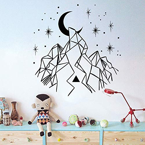 56x58 /cm Geometric Mountains Crescent Stars Wall Stickers Home Decor Wohnzimmer Entfernbare Vinyl Wall Decals für Babyur