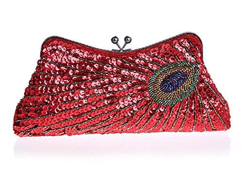Modello di pavone mano bag/ borsa da sera moda/ paillettes borsa frizione-G G