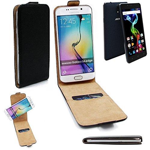 K-S-Trade® Für Archos 55b Platinum Flipstyle Schutz Hülle 360° Smartphone Tasche, Schwarz, Case Flip Cover Für Archos 55b Platinum