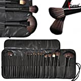 Zureni 24Pcs Makeup Brush Set, Professional Makeup Tool Kit Cosmetic Makeup Brushes With Leather Pouch (Black)