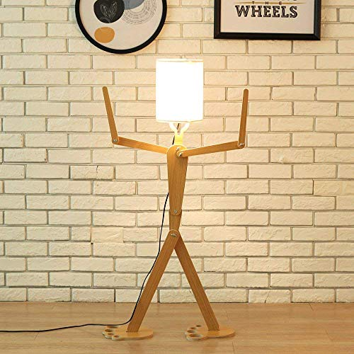 WngLei Creativa Moderna lámpara de pie con Sombra para Sala de Estar de Madera Decorativa casera de pie Alto luz Ajustable Brazo oscilante Lámparas 110 cm Diseño único DIY Hombre Lámparas