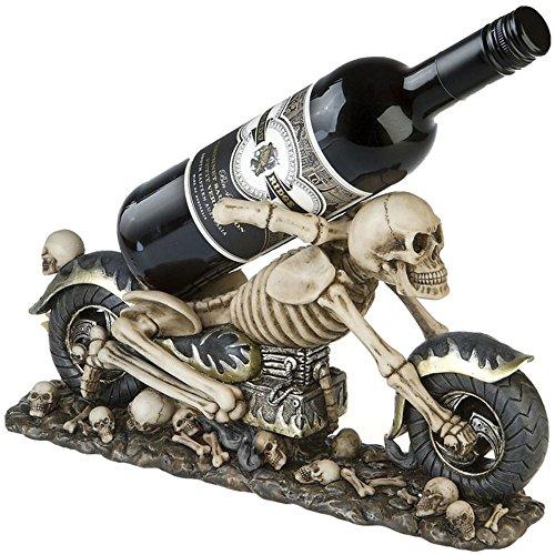Weinflaschenhalter Skelett Biker Weinkeller Gothic Halloween -