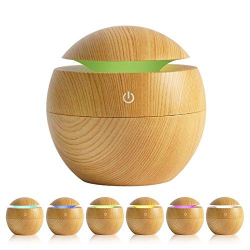 KBEDY 130 ML Diffusore di olio essenziale, USB Wood Grain Ultrasuoni Aromaterapia Umidificatore ad aria Mini Cool Mist Maker con 7 colori LED Light per Office Home Bedroom Travel