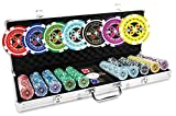 Malette Poker 500 Jetons Ultimate - Set de 500 jetons de Poker 13,5g + Malette Aluminium + 2 Jeux de Cartes 100% Plastique + Bouton Dealer