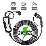 Morec EV Chargeur Portable commutable câble Chargement Box 10/16 A Type 2 Schuko 2 Broches Chargeur de Voiture électrique Evse (Euro Plug) 2.2/3.6kw, 6m