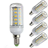 WELSUN 12 Volt 6 Watt LED Glühbirne, G9 / E12 / E14 / E27 Glühbirne 12V Niederspannung, 6W Glühbirne - 40 Watt Halogenlampe Äquivalent - Off Grid Solar System LED-Leuchten 5-Pack ( Color : Warm white , Style : E14 )