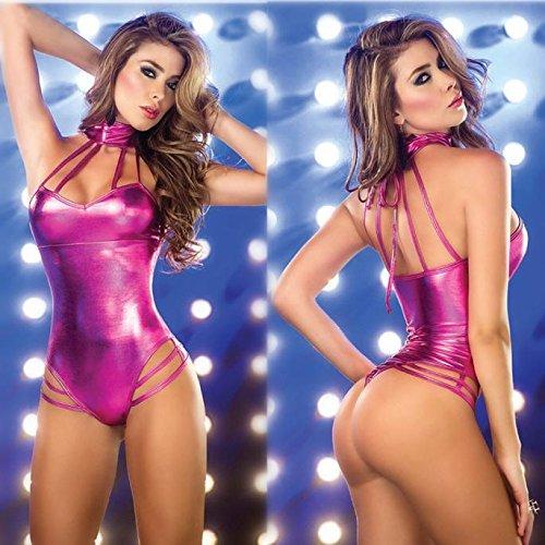 loveorama.de Baonoopy Frauen Dessous Jumpsuits Clubwear Stripper Lackleder Unterwäsche