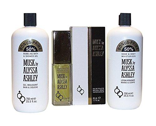 MUSK by Alyssa Ashley 3 tlg. Setangebot: Shower Gel 750 ml + Body Lotion 750 ml (unboxed) + Eau de Toilette Spray 50 ml