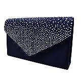AiSi Damen Satin Clutch Abendtasche Party-Bags mit Zusatzkette und Magnetverschluss Dunkelblau