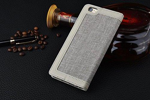 iPhone Case Cover Lin en cuir enveloppé modèle mixte couleur PU cuir Wallet Case avec carte Cash Card Slot Case Stand pour IPhone 7 ( Color : Red , Size : IPhone 7 ) Gray