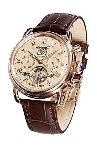 Ingersoll Armbanduhr Herrenuhr Automatik Ellsworth - Analoge Uhr mit Datum, braunem Lederarmband und champagnerfarbenem Zifferblatt - 50m/5atm - IN8210RG