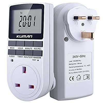 Electronic Digital Timer switch 7 Day Socket UK Plug-in Programmable Kuman W45 update version (1 Pack) - low-cost UK light shop.