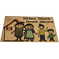 Zerbino Personalizzato da interno - Fumetto Famiglia e Tuoi Nomi - in cocco naturale cm. 100x50x2 LOVEDOORMAT Marchio Registrato Handmade in Italy