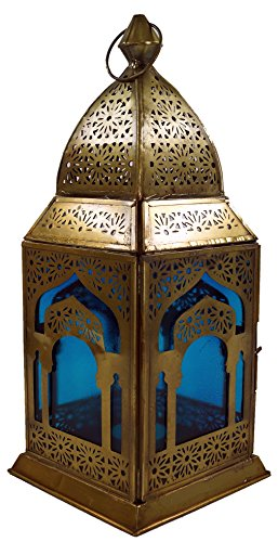 Guru-Shop Orientalische Messing/Glas Laterne in Marrokanischem Design, Windlicht, Türkis, Farbe: Türkis, 30x13x13 cm, Deko Teelicht, Teelichtgefäße Marokkanische Laterne Türkis