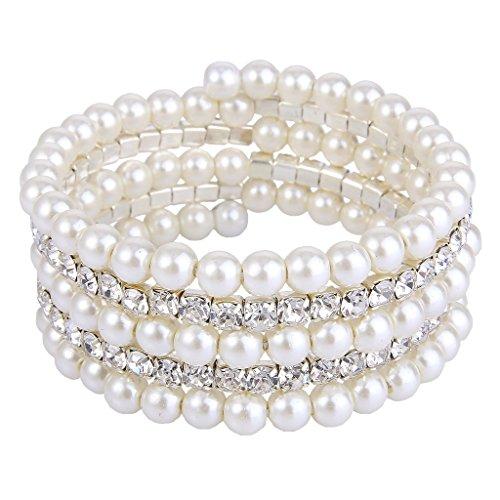 EVER FAITH® Livelli di nozze crema color avorio simulato perla braccialetto del filo trasparente di cristallo austriaco