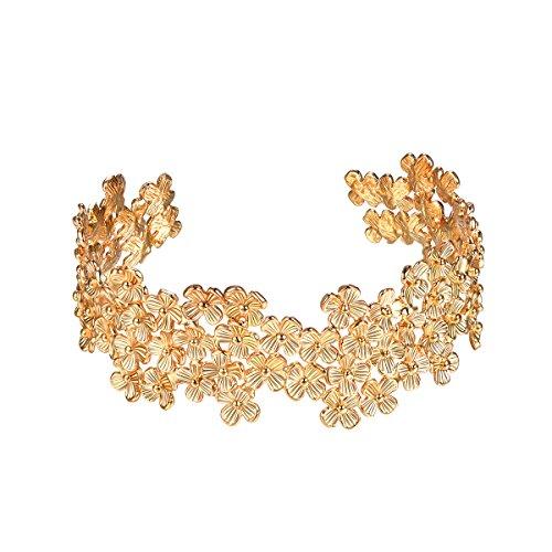 FOCALOOK Damen Armband Vintage Unregelmäßig Blumen Armband 18K vergoldet offener Armreif Armspange verstellbar für Frauen Mädchen