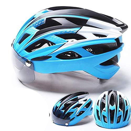 Radsport Fahrradhelm, Radsport Helm mit Sonnenbrille, Abnehmbar Fahrrad Visier, für Damen Schutz Ski und Snowboard Sicherheit - Blau + Schwarz, One Size