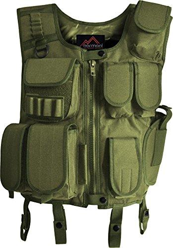 Taktische Einsatzweste mit Pistolenholster und vielen Taschen OLIV