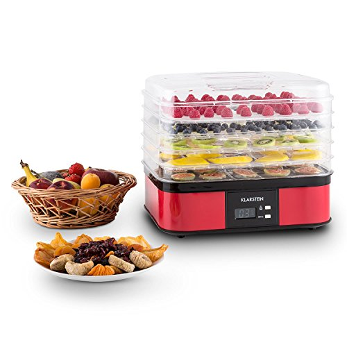 51m6I D8cKL. SS500  - Klarstein Valle di Frutta - Dehydrator, Automatic Dehydrator, Fruit Dryer, 5 Levels, 250 W, Adjustable Temperature, Timer, LCD Display, 2-Key Operating Section, Easy Cleaning, red