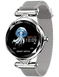 Amyove A Prueba de Agua Lady Lady Fashion Smart Watch Pulsera Sport Fitness Tracker Blateado