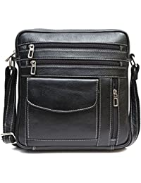 Genuine Leather Unisex Cross-Body Bag (Black)