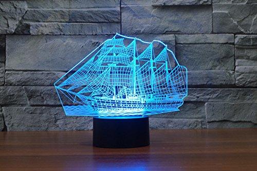 Weihnachten Geschenke 3D Leuchtet 7 bunte Farbe ändern Nachtlicht für Kinder und Jugendliche großen Schiff - 3