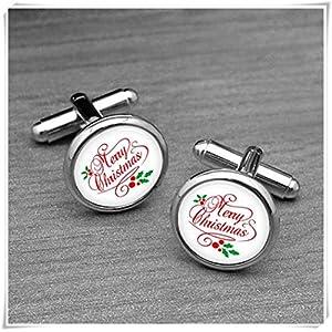 chen jian xin Merry Christmas Manschettenknöpfe, Rot monogramd Manschettenknöpfe