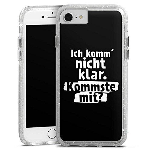 Apple iPhone 8 Bumper Hülle Bumper Case Glitzer Hülle Phrases Sprüche Sayings Bumper Case Glitzer silber