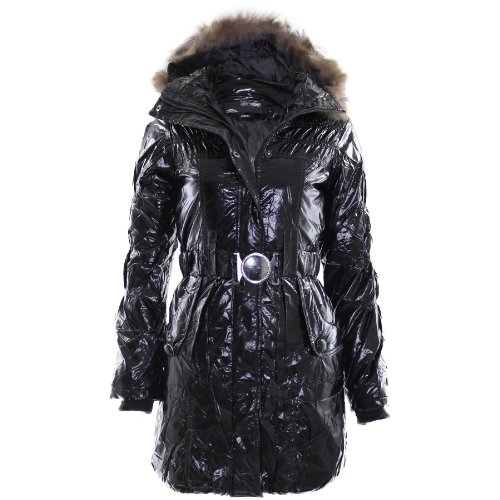 Flirty Wardrobe Veste matelassée à capuche Fausse Fourrure Effet Mouillé Manteau avec ceinture d'hiver chaud Wet look Black