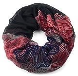 floraler Muster Schal Loop Halstuch Schlauchschal Rundschal Tuch Damen Women schwarz/rot/grau