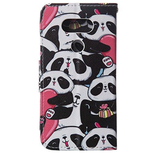 ISAKEN Accessories Cover Per LG G5 PU Pelle Portafoglio Custodia, Elegante borsa Drawing Pattern Design in Sintetica Ecopelle Libro Bookstyle Wallet Flip Portafoglio Case Cover Anti Slip Case Copertur cartoon panda amore