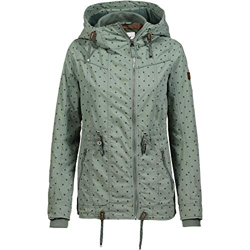 ONLY Damen Parka onlTINA Short Spring OTW, Grün (Chinois Green AOP:DOTS) 40 (Herstellergröße:L)