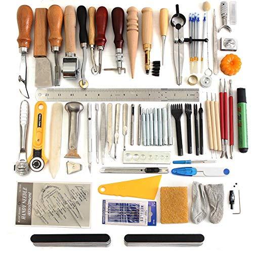 Dyna-Living 78 Stück Leder Bastelwerkzeuge,für alle Benutzerdefinierten Lederarbeiten