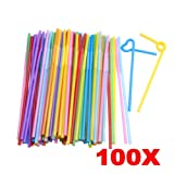 #6: Rrimin 100 Pcs Plastic Flexible Bendy Mixed Colours Party Disposable Drinking Straws