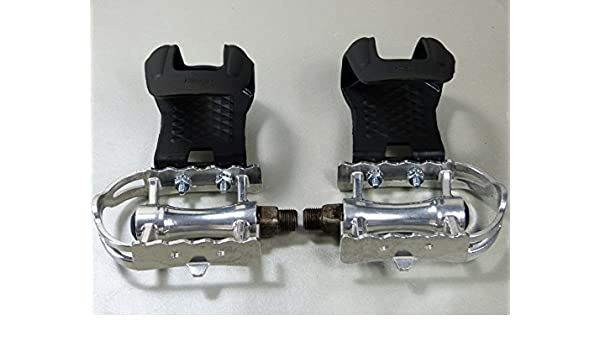 Retro Bicycle Pedals with Retro Pedal Hook With Leather Double Strap