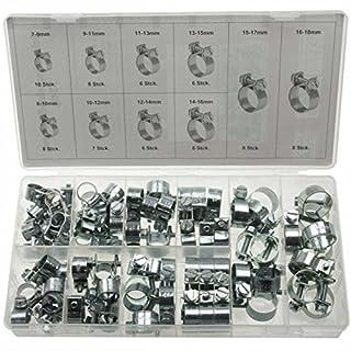 ALKAN 73 x Universal Mini Schlauchklemmen-Sortiment Rundziehende Schlauchschellen Satz (im Aufbewahrungsbox/Sortimentsbox)