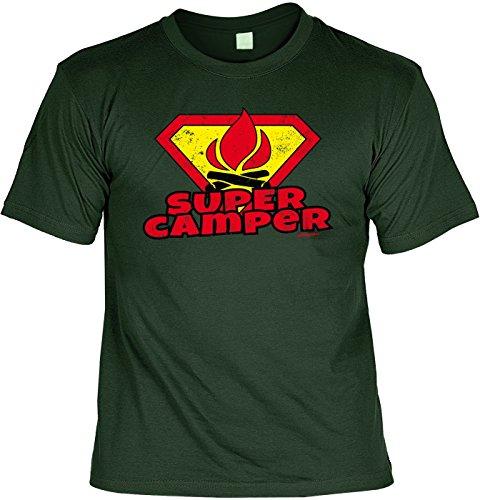 cooles Funshirt Camper Camping T-Shirt Herren Shirt Super Camper - Geschenk zum Geburtstag Weihnachten Papa Dunkelgrün