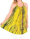LA LEELA Sera Spiaggia Costumi da Bagno Costume da Bagno Rayon Abito Caftano Tie Dye Caftano delle Donne di Colore Giallo