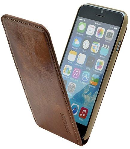 Original Suncase Flip-Style Ledertasche für das iPhone 6 / 6s (4.7 Zoll) ECHT LEDER Tasche in antik-braun (sand) Antik-Rost