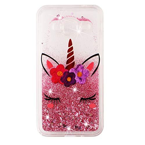 ShinyCase Samsung Galaxy J3 (2016/2015) Custodia,Galaxy J3/J310/J320 Sabbie Mobili Liquid Back Cover 3D Glitter Trasparente Brillantini Sequin Cristallo Copertura Protettiva Case Morbido,Unicorno