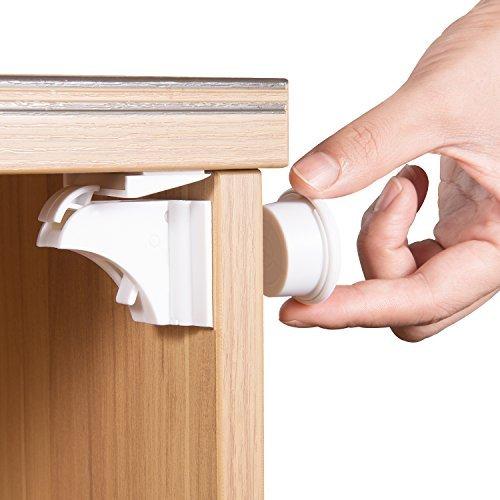 Cierres magnéticos para armarios y cajones de seguridad para niños (6 cerraduras...