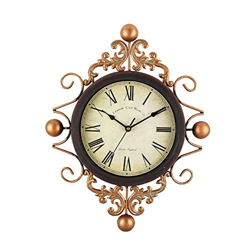 Meta Fer Horloge Murale, Européen Style Rétro Muet Maison Salon Dévoration Murale Pendentif,DXNSPF 18.5*14.1 Pouces , Roman numerals