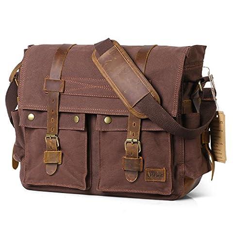 Lifewit Vintage Messenger Bag 17,3 Zoll Umhängetasche aus Leder und Canvas Schultertasche Ideal Für Uni, Freizeit, Reisen
