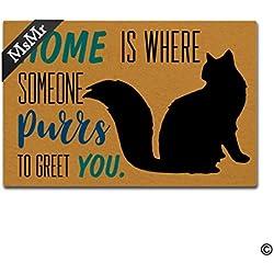 msmr Funny alfombrilla de puerta entrada puerta delantera alfombrilla casa gato casa Felpudo decoración de interior al aire libre Felpudo antideslizante de goma Felpudo (23,6x 15,7)