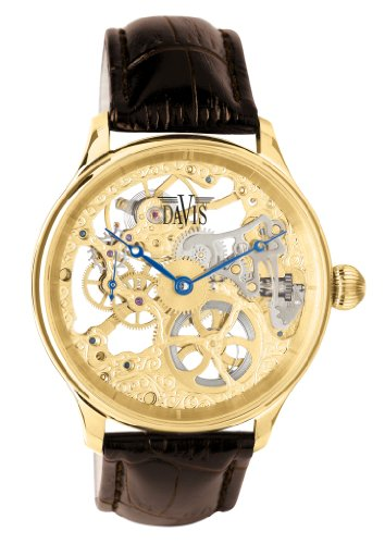 Davis 0895 - Mens Skeleton Watch Yellow Gold Hand wind Mechanical Movement Brown leather Strap