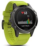 Garmin Fenix 5 Multisport GPS Watch with Outdoor Navigation and Wrist-Based Heart Rate - Slate Grey with Yellow Band