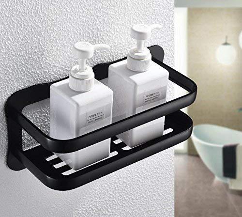 chl TQCVOB Badezimmer-Versorgungsmaterialien Toilette-Badezimmer-Wand befestigtes schwarzes Alloy-Allzweckbadezimmer-Seifen-Teller-Bad-Duschregal-Bad-Shampoo-Halter-Korb-Halter-Eckregal - Wand Stehen Teller