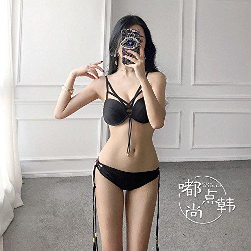 ZZNXYY Kordelzug Bikini Kleine Kommode Sammeln Stahl Tablett Badeanzug Weibliches Dreieck Seaside Badeanzug, S, Schwarz