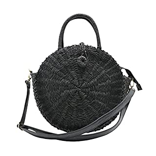 Awhao Women Round Straw Shoulder Bag,Outdoor Beach Circular Straw Braided Woven Beach Bag Versatile Handbag Sling Bag Crossbody Bag (Black)